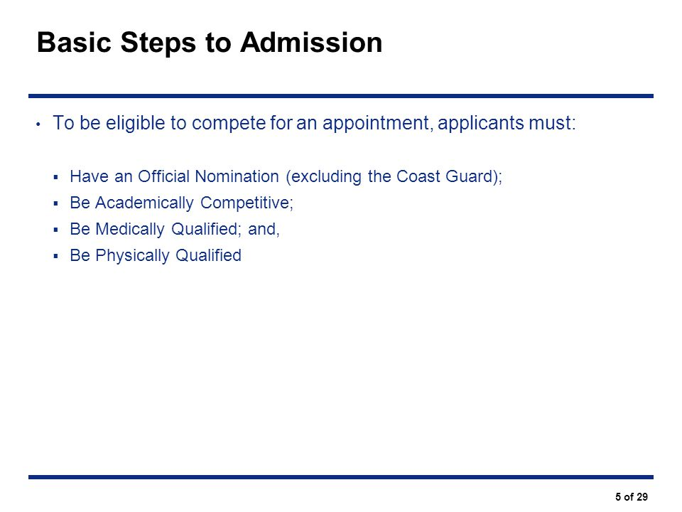 Basic Steps to Admission