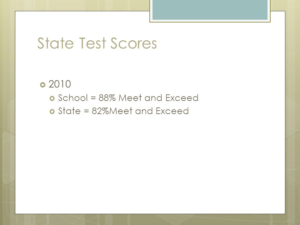 State Test Scores 2010 School = 88% Meet and Exceed