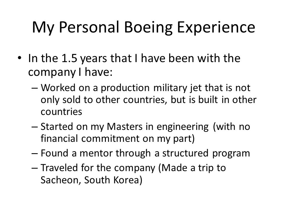 My Personal Boeing Experience