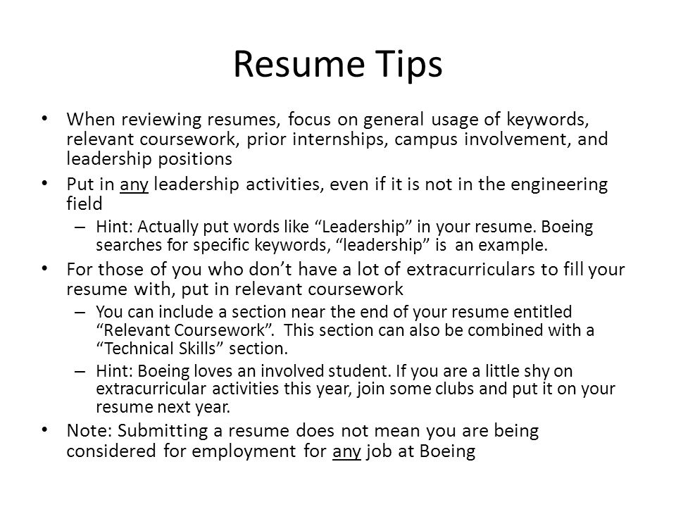 include relevant coursework on cv