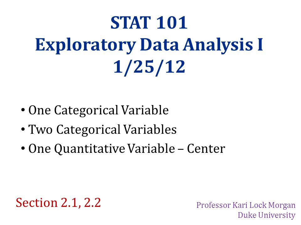 Exploratory Data Analysis I