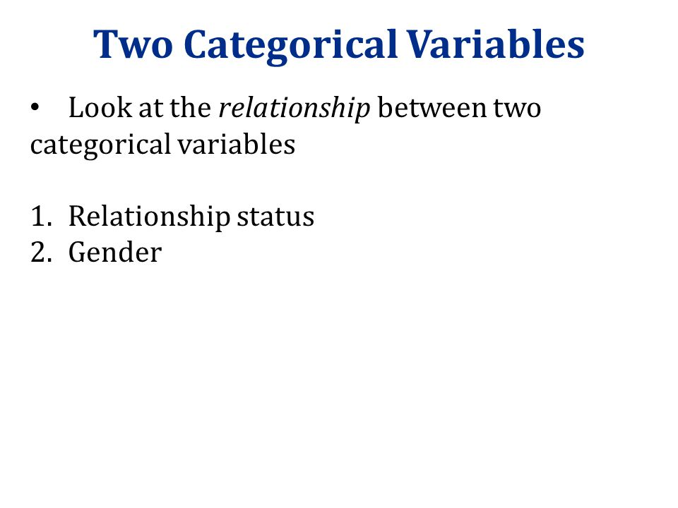 Two Categorical Variables