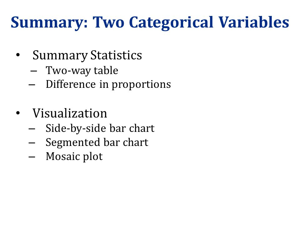 Summary: Two Categorical Variables