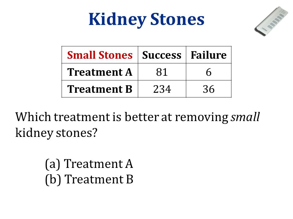 Kidney Stones Small Stones. Success. Failure. Treatment A. 81. 6. Treatment B. 234. 36.