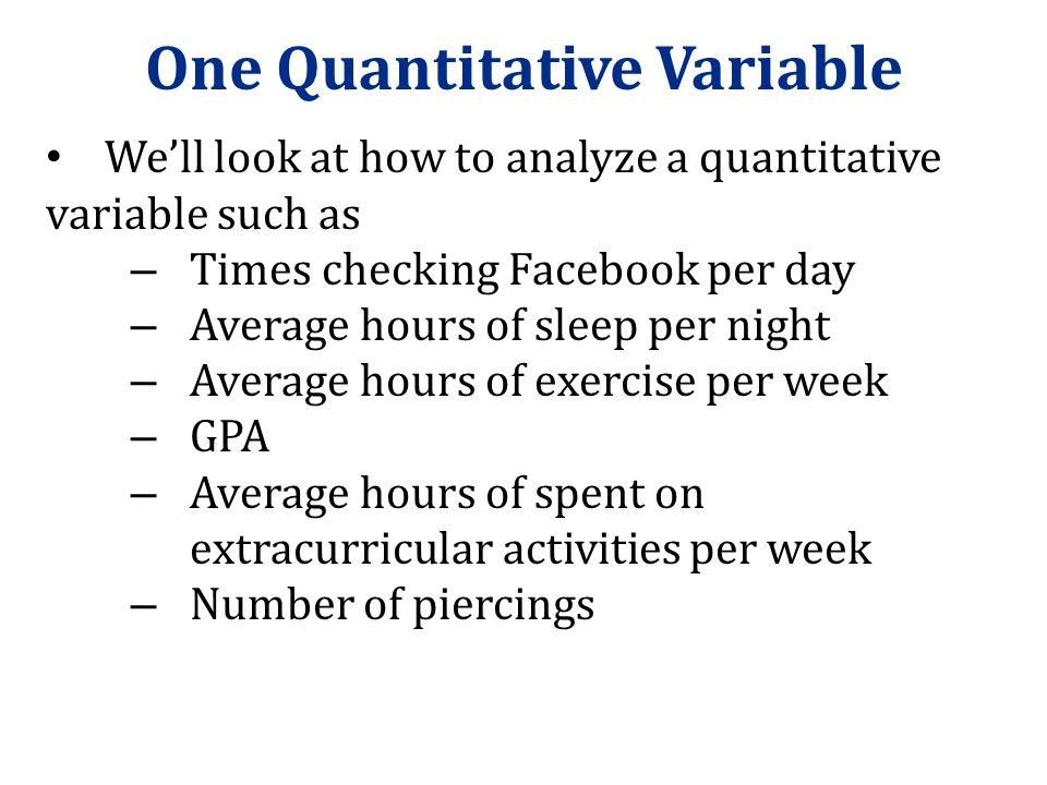 One Quantitative Variable