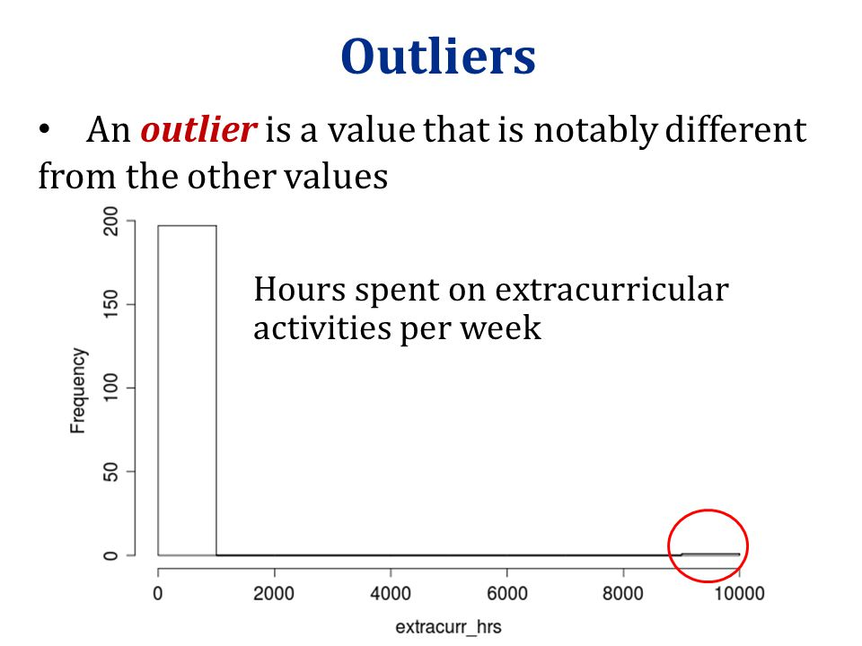Outliers An outlier is a value that is notably different from the other values.