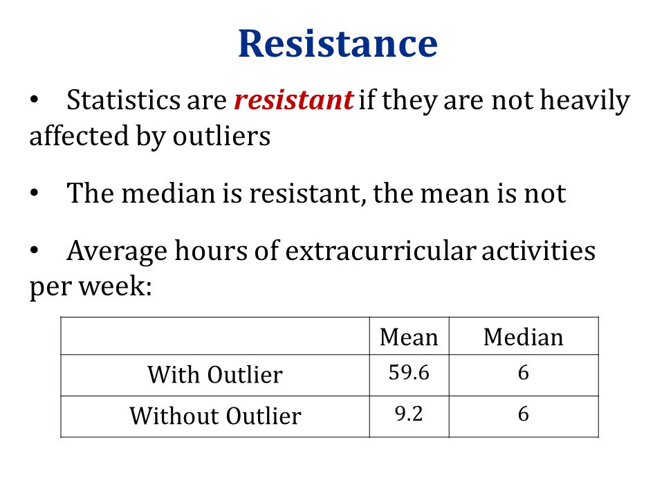 Resistance Statistics are resistant if they are not heavily affected by outliers. The median is resistant, the mean is not.