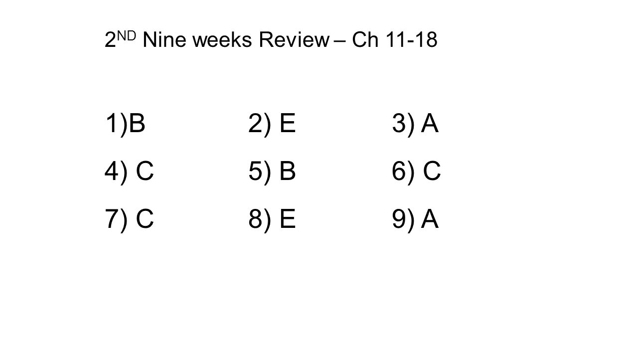 2ND Nine weeks Review – Ch 11-18