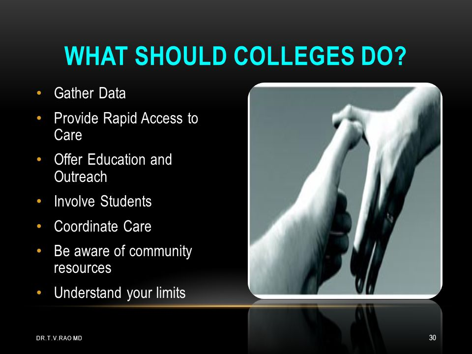 What should colleges do