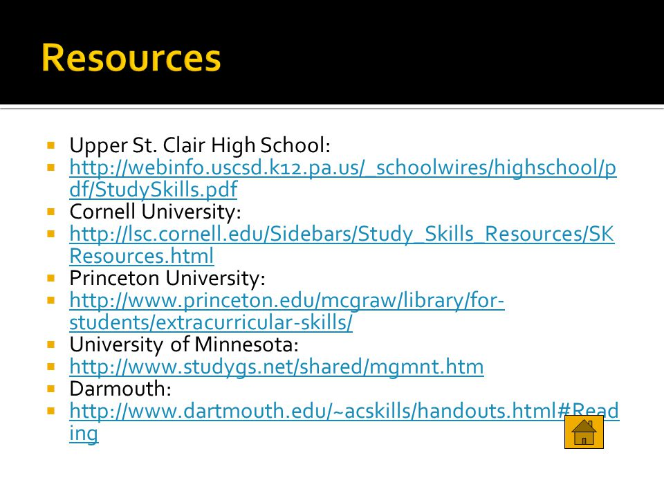 Resources Upper St. Clair High School: