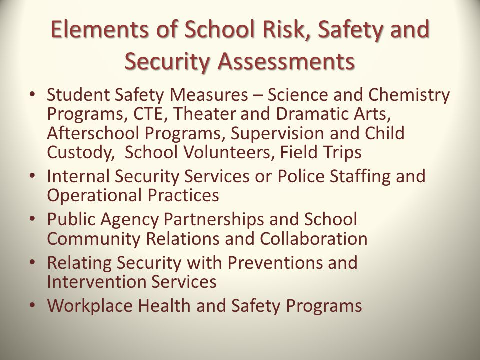 Elements of School Risk, Safety and Security Assessments
