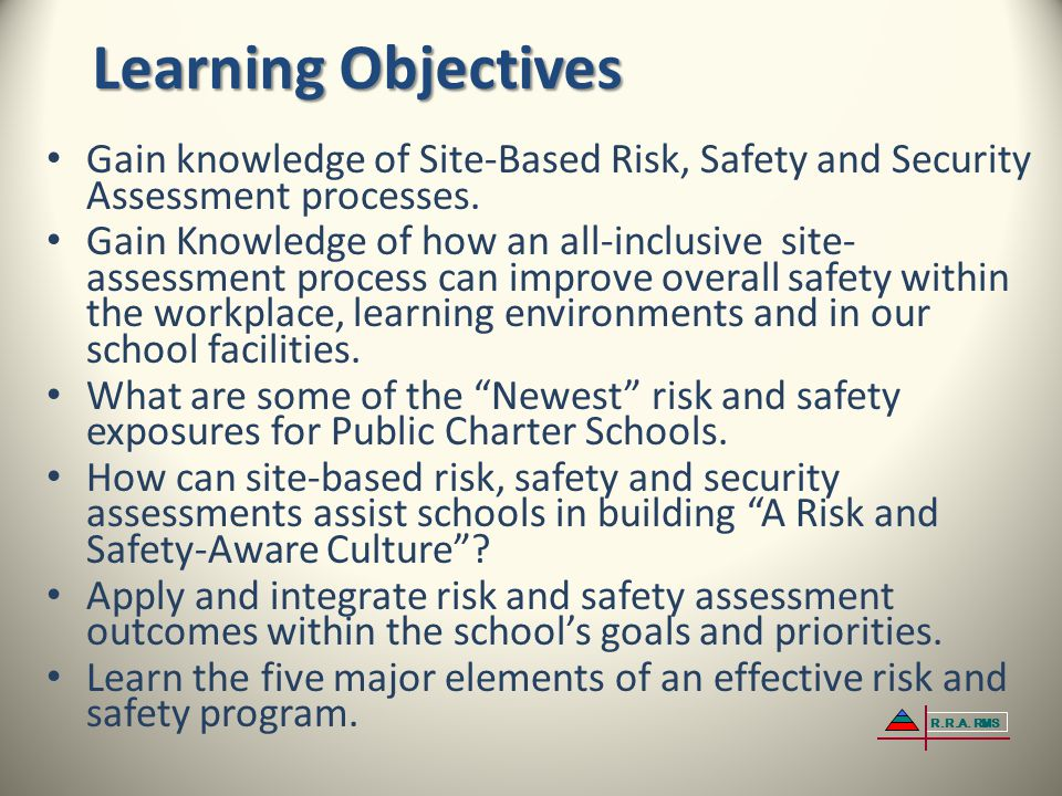 Learning Objectives Gain knowledge of Site-Based Risk, Safety and Security Assessment processes.
