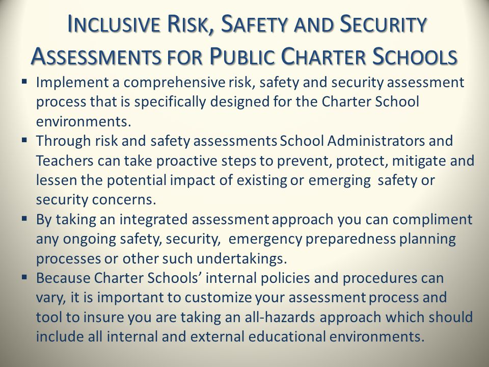 Inclusive Risk, Safety and Security Assessments for Public Charter Schools