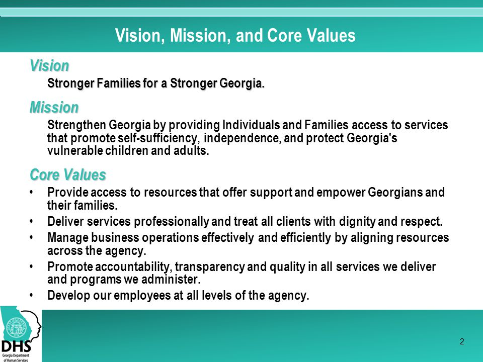 Vision, Mission, and Core Values