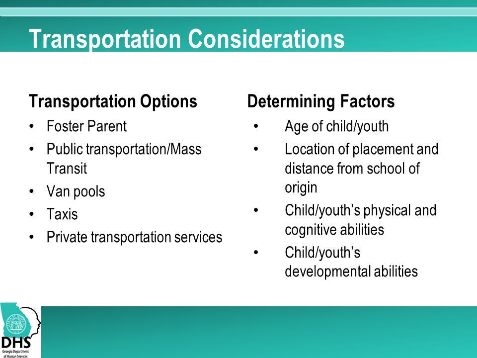 Transportation Considerations