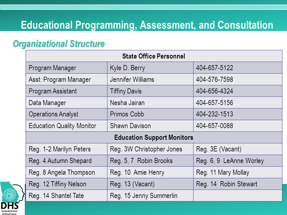 Educational Programming, Assessment, and Consultation