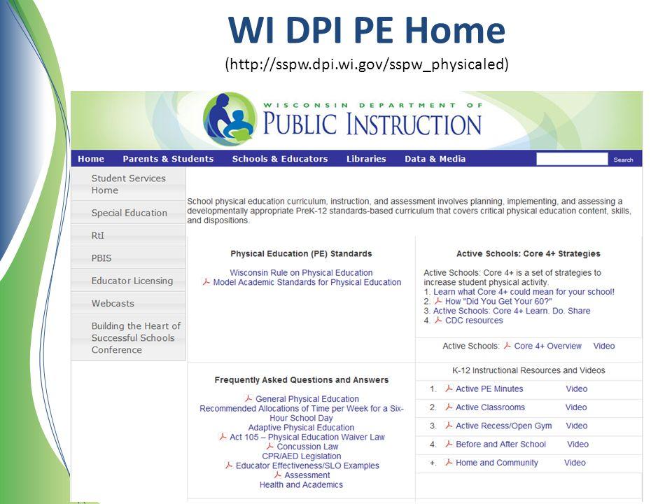 WI DPI PE Home (http://sspw.dpi.wi.gov/sspw_physicaled)