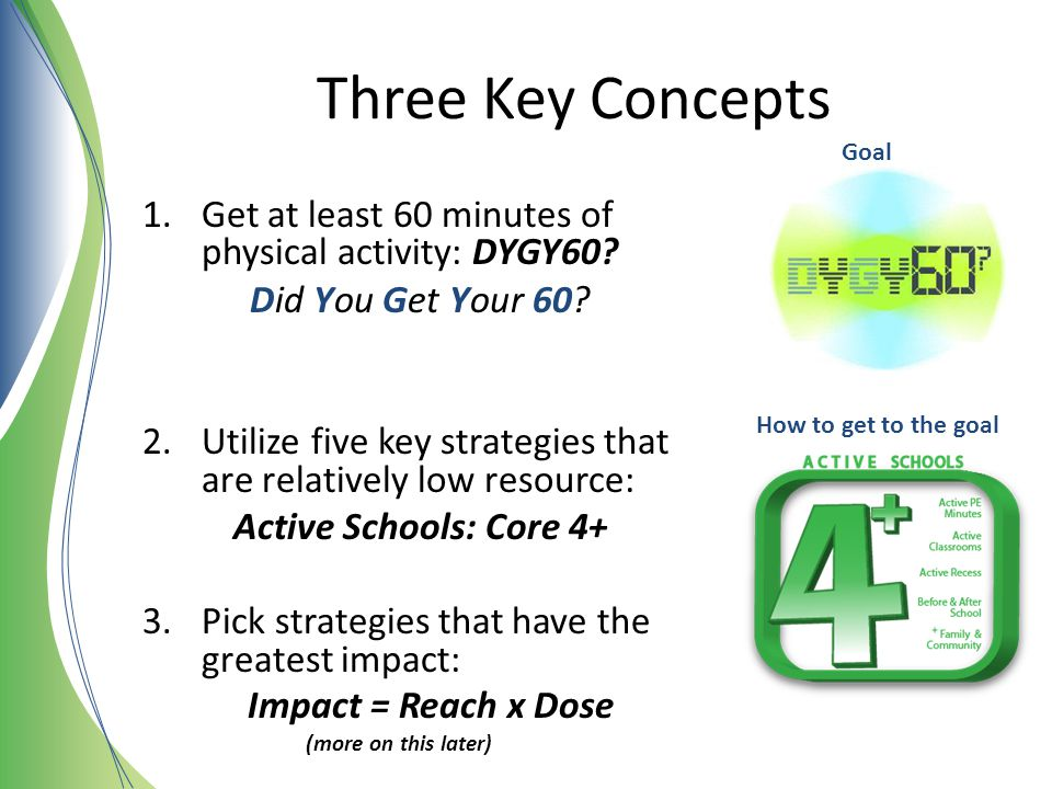 Three Key Concepts Goal. Get at least 60 minutes of physical activity: DYGY60 Did You Get Your 60