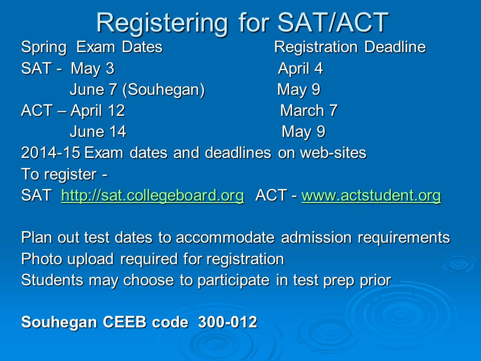 Registering for SAT/ACT