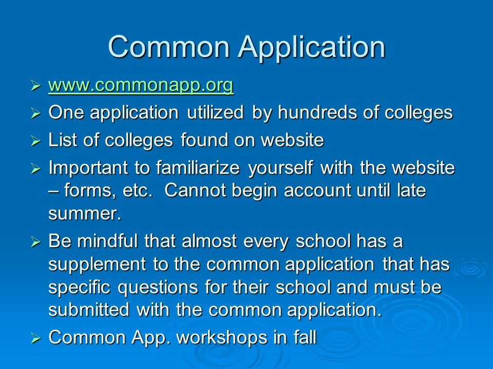 Common Application www.commonapp.org