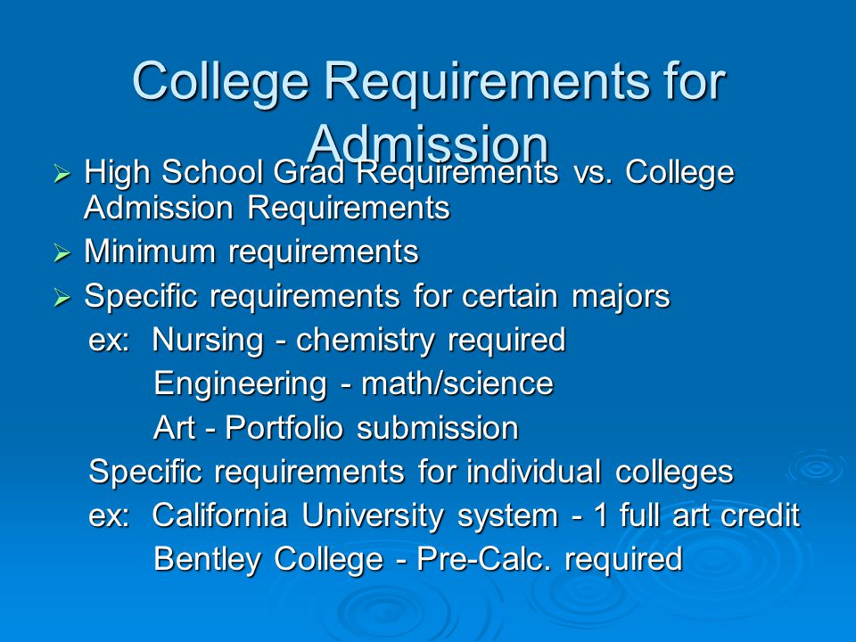 College Requirements for Admission