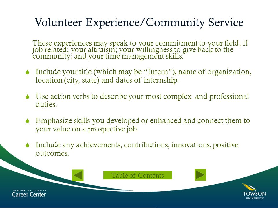 Volunteer Experience/Community Service