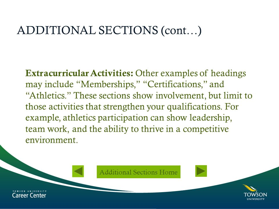 ADDITIONAL SECTIONS (cont…)