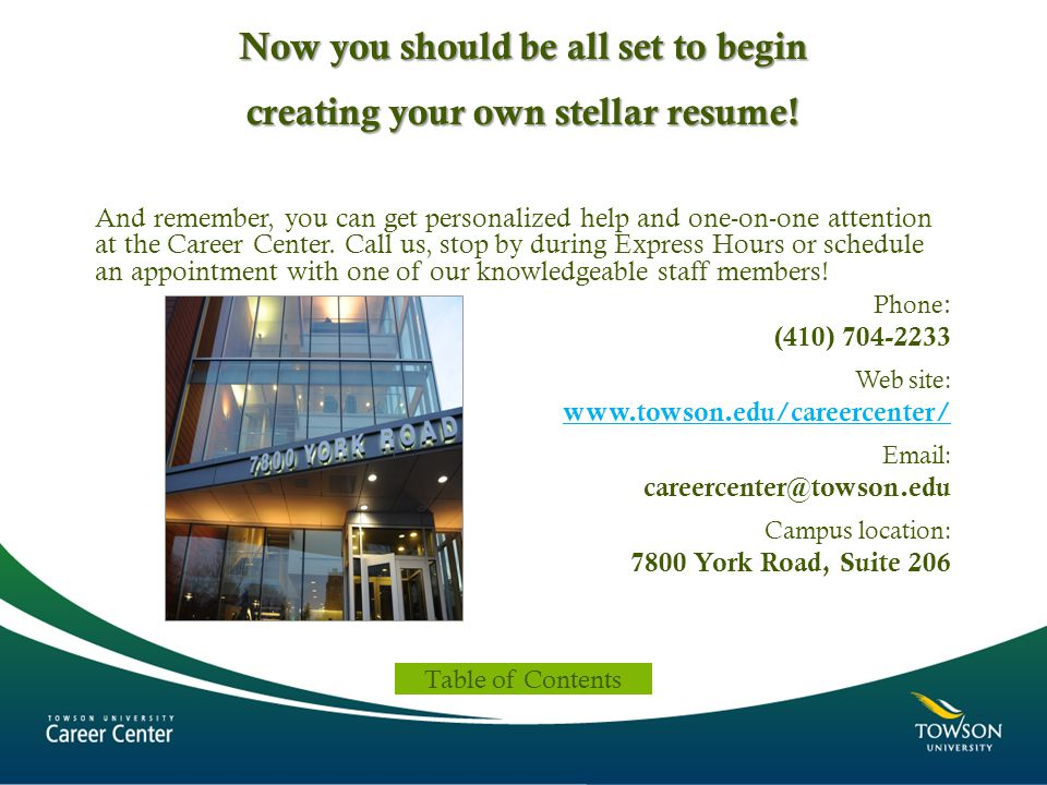 Now you should be all set to begin creating your own stellar resume!