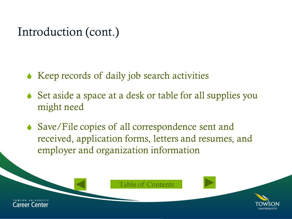 Introduction (cont.) Keep records of daily job search activities