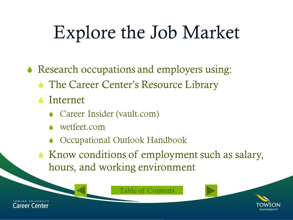 Explore the Job Market Research occupations and employers using: