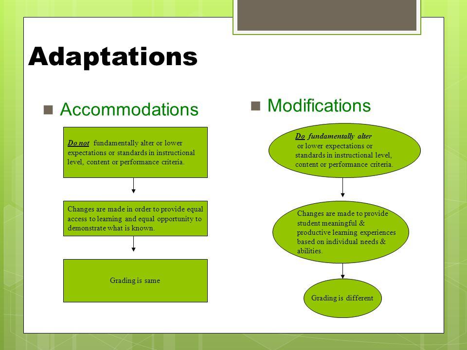 Adaptations Modifications Accommodations Do fundamentally alter