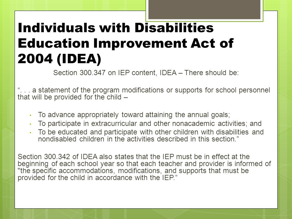 Individuals with Disabilities Education Improvement Act of 2004 (IDEA)