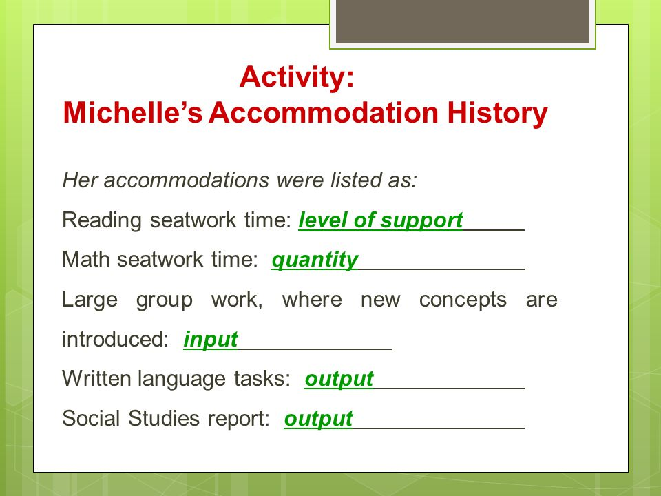 Activity: Michelle's Accommodation History