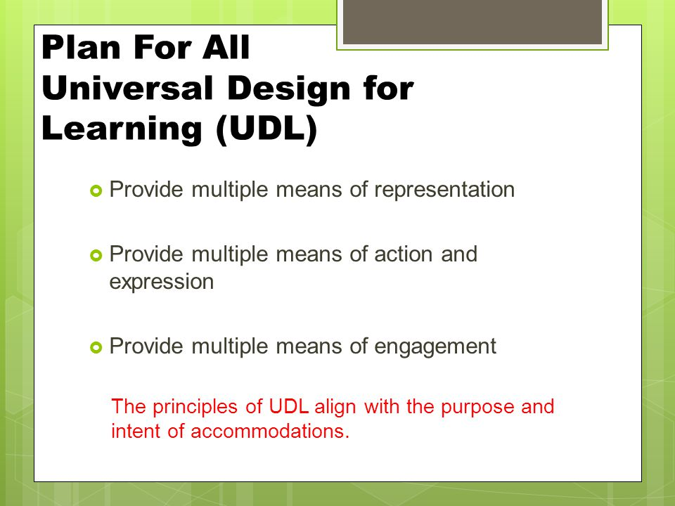 Plan For All Universal Design for Learning (UDL)