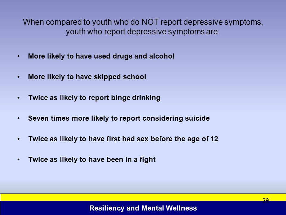 When compared to youth who do NOT report depressive symptoms, youth who report depressive symptoms are: