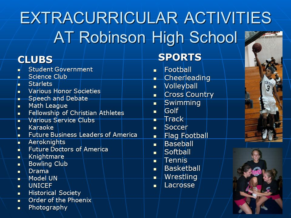 EXTRACURRICULAR ACTIVITIES AT Robinson High School