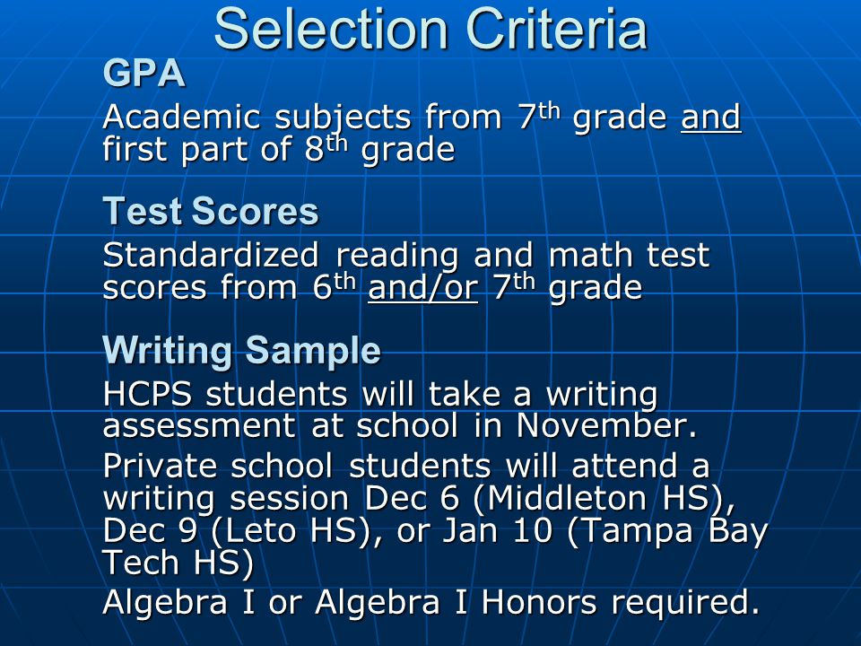 Selection Criteria GPA
