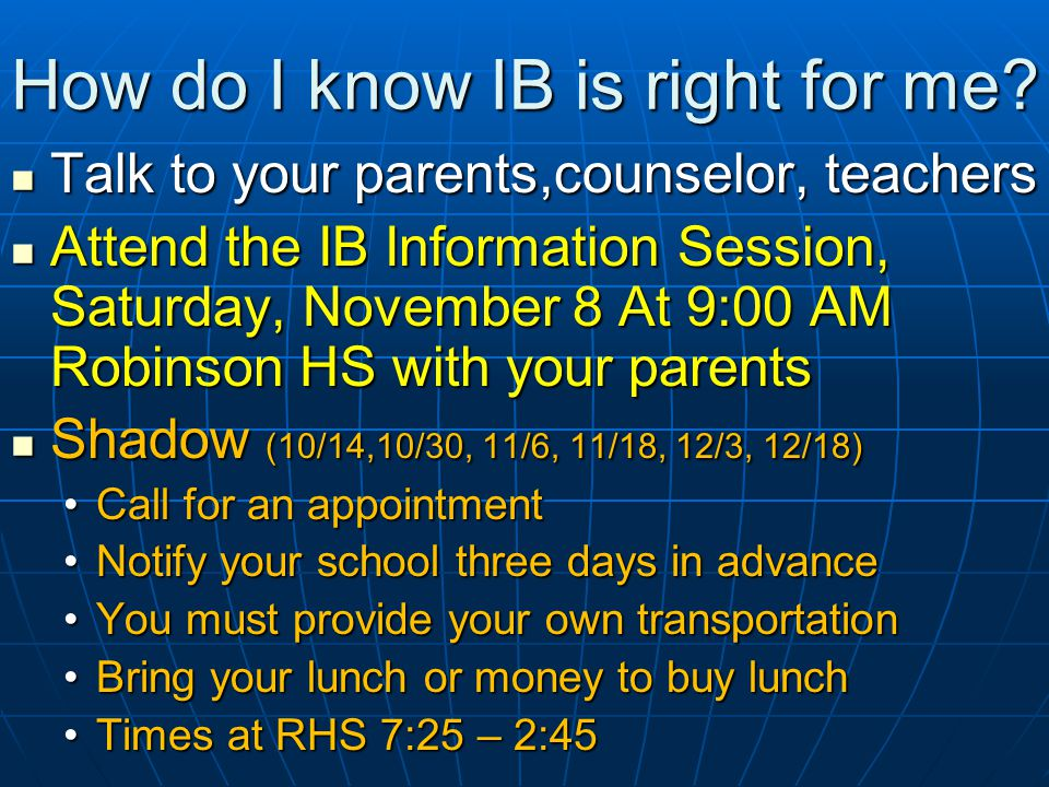 How do I know IB is right for me