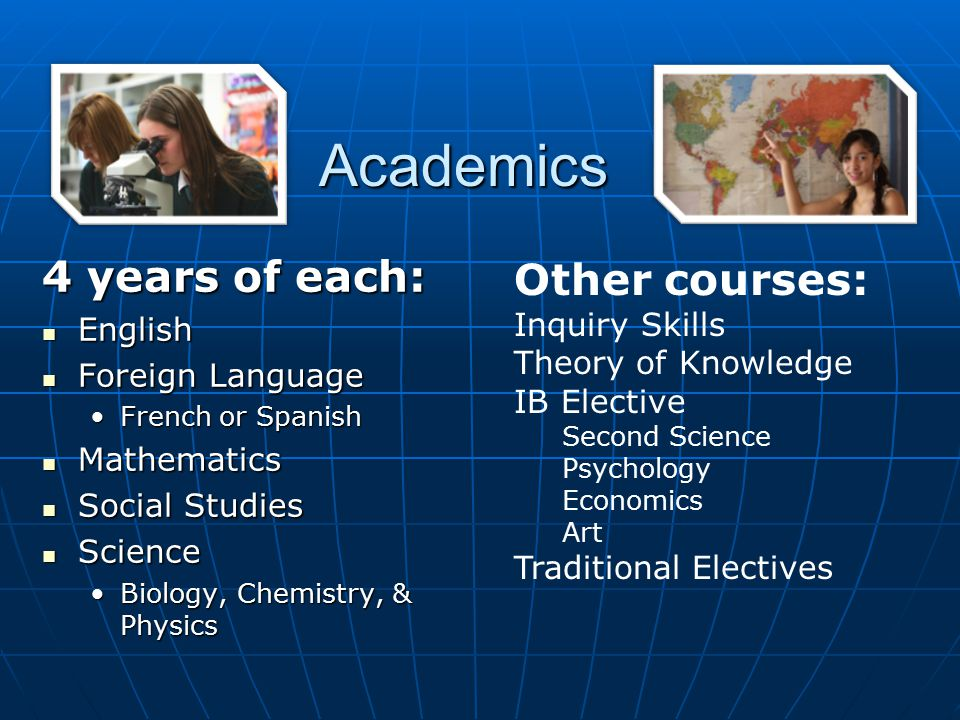 Academics 4 years of each: Other courses: English Inquiry Skills