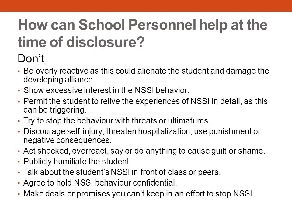 How can School Personnel help at the time of disclosure