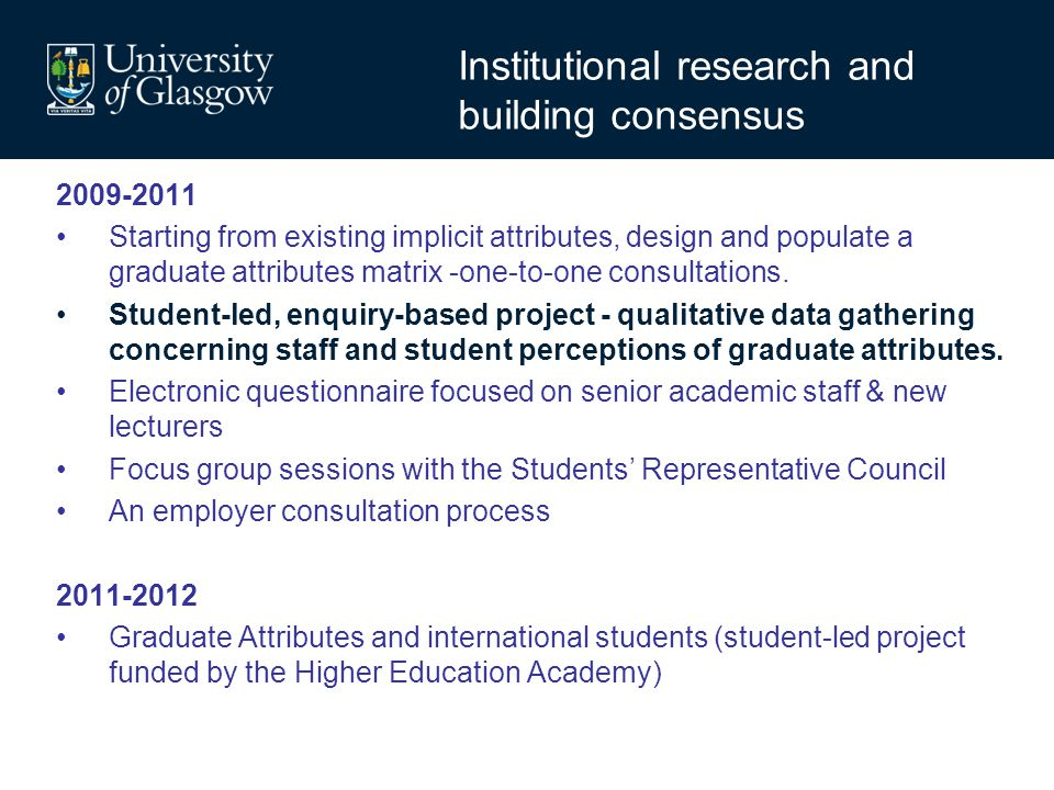 Institutional research and building consensus