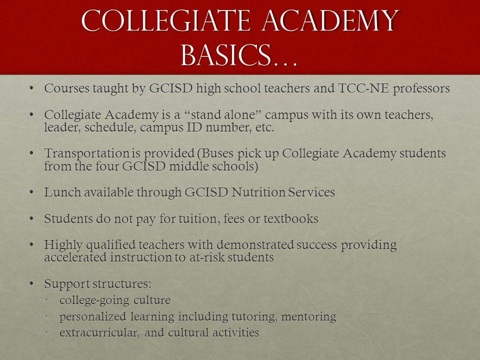 Collegiate Academy Basics…