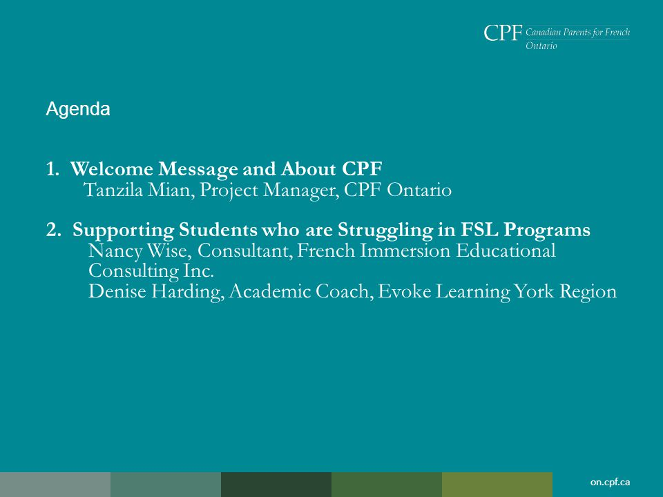 1. Welcome Message and About CPF