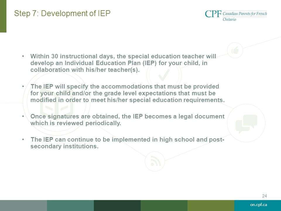 Step 7: Development of IEP
