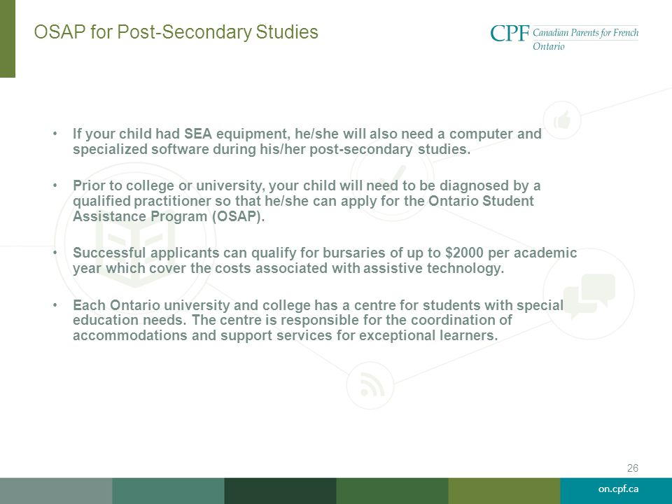 OSAP for Post-Secondary Studies