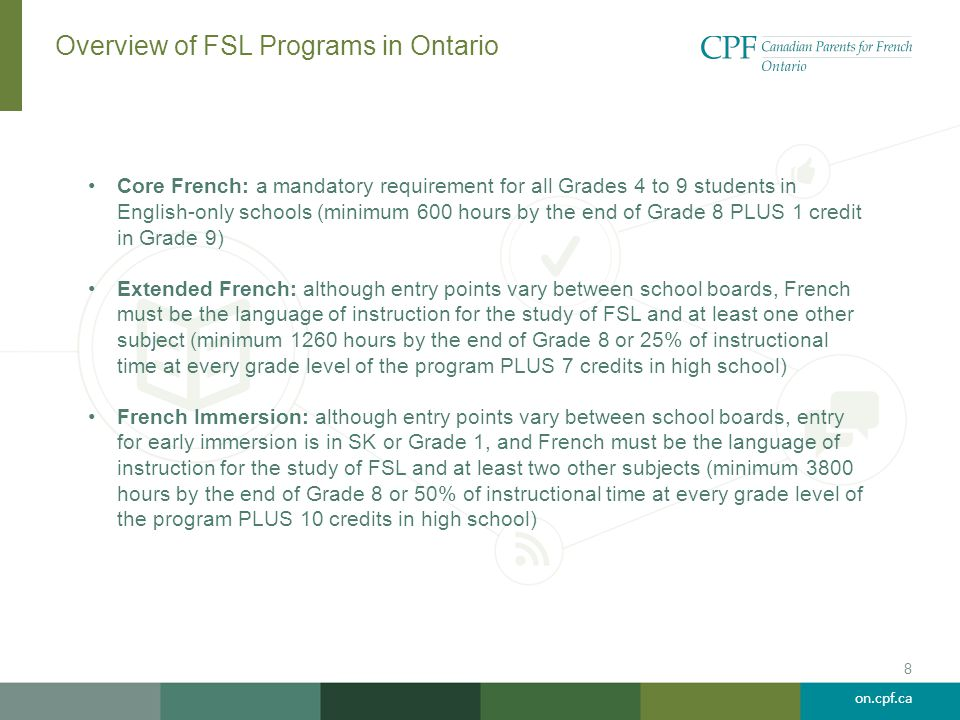 Overview of FSL Programs in Ontario