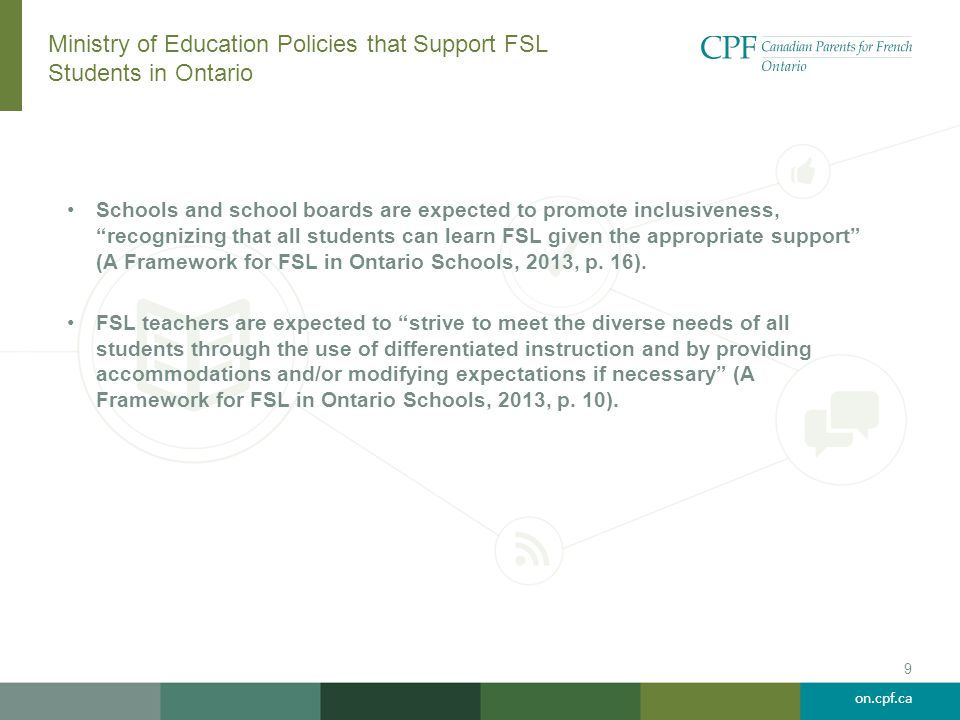 Ministry of Education Policies that Support FSL Students in Ontario