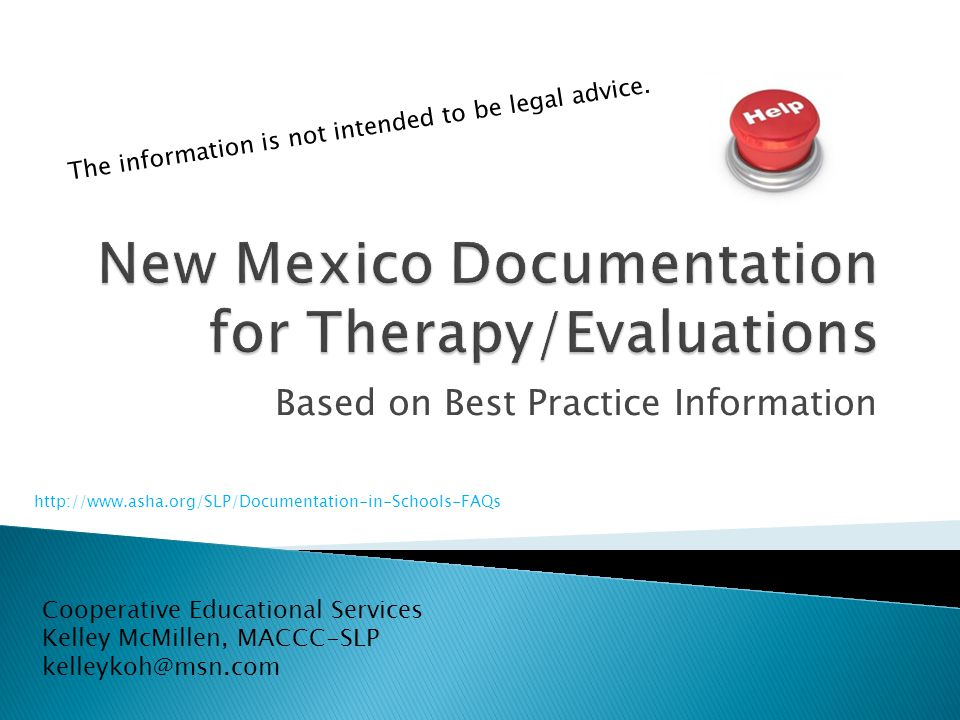 New Mexico Documentation for Therapy/Evaluations
