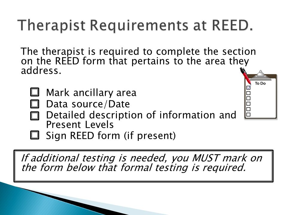 Therapist Requirements at REED.