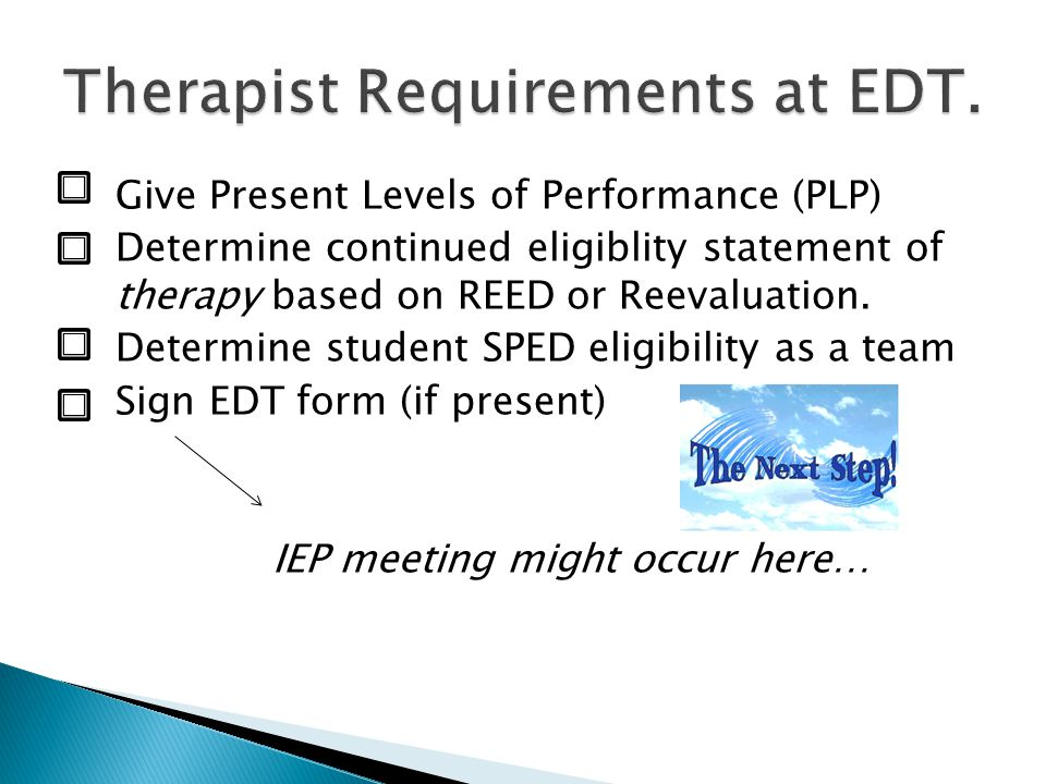 Therapist Requirements at EDT.